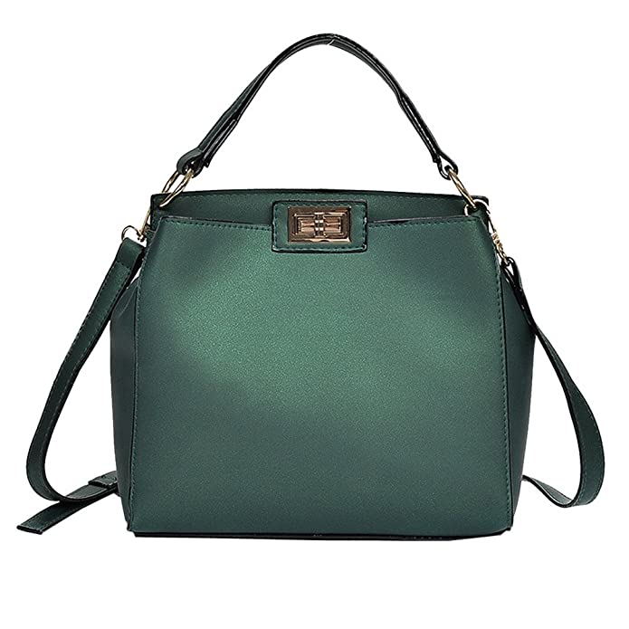 Amazon.com: Fashion Women Pure Color ladies Shoulder Bag Hand Bags Satchel Tote Crossbody Bag mini Leather bolsos mujer de marca famosa A8 Color Green ...