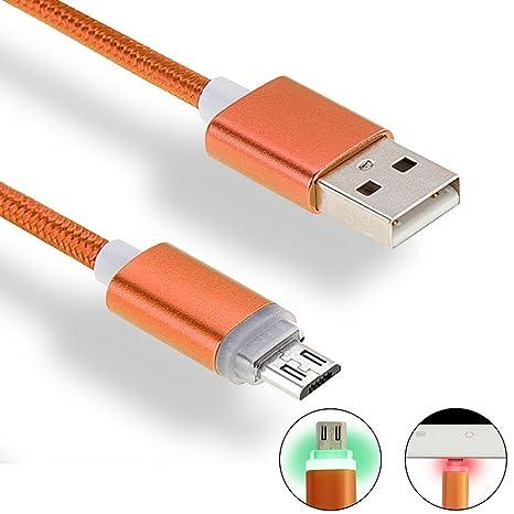 iMusi Cable Cargador USB con LED, Cable de Carga Rápida para Android, USB Cable de Datos con indicador LED (1m, Nylon, Naranja)