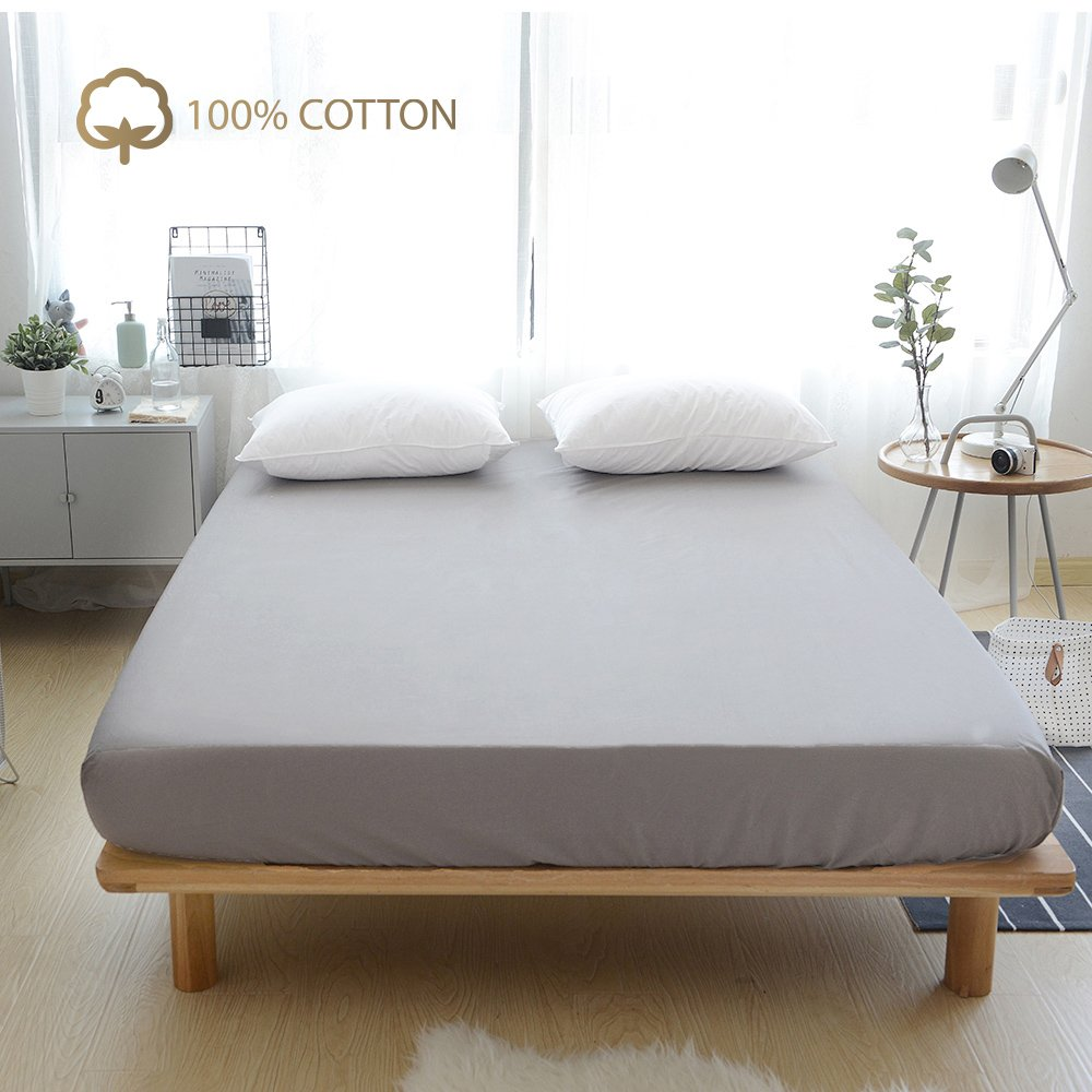 VClife Fitted Sheet Queen Grey, 100% Cotton without Pillow Cases, Wrinkle, Fade, Stain Resistant - Hypoallergenic - (Grey, Twin)