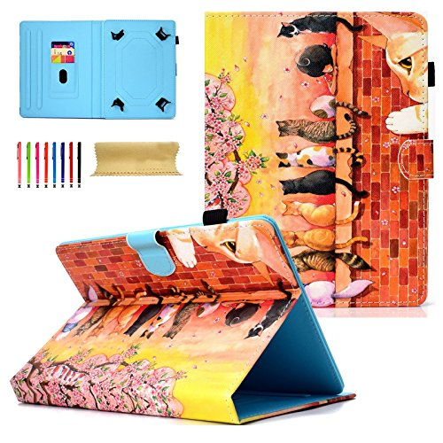 Universal 8.0 inch Tablet Case, Coopts Stand Folio Wallet Kids Case for All 7.5-8.5 inch iPad Mini 1 2 3 4, Galaxy Tab A 8.0/ Tab E 8.0/ Tab S2 8.0, Amazon Fire HD 8.0 inch,Huawei, Colorful Cat