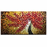 Asdam Art -100% Hand Painted Paintings Red Art Work Maple Tree Pictures Abstract Art Large Wall Art For Living Room Artwork on Canvas Ready To Hang Framed Art For Bedroom Living Room (20X40 inch)