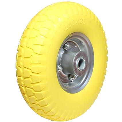 Rueda de poliuretano con eje de 20 mm, con rodamiento de bolas para carretilla o