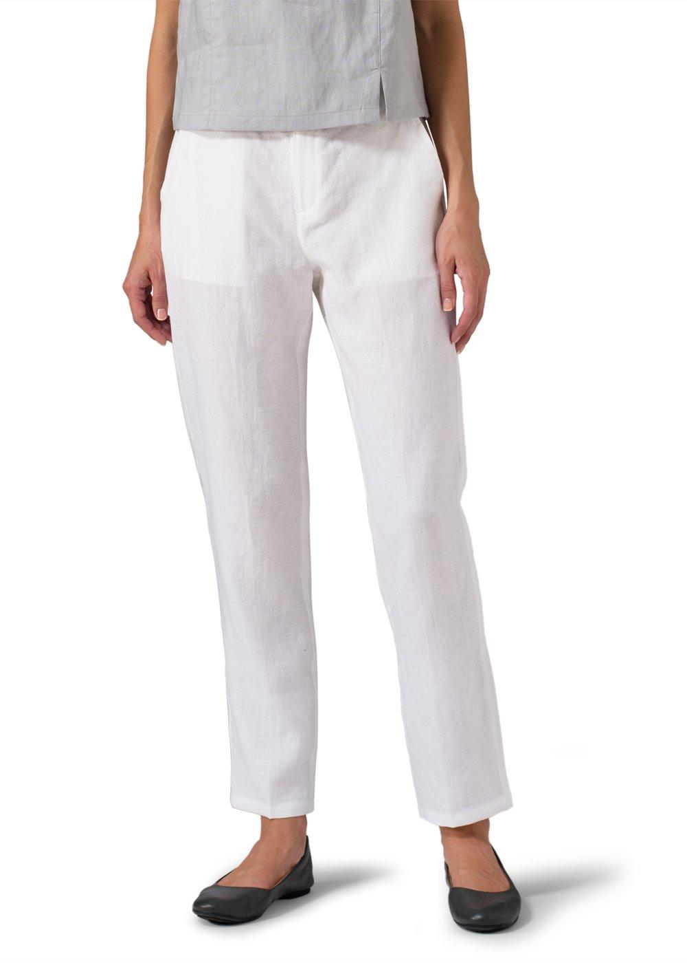 Vivid Linen Slim Ankle Pants-L-Soft White