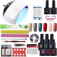 COSCELIA Gel Nail Starter Kit 6 Colors Gel Nail Polish 10ml Top and Base Coat With UV LED Nail Lamp Manicure Tools