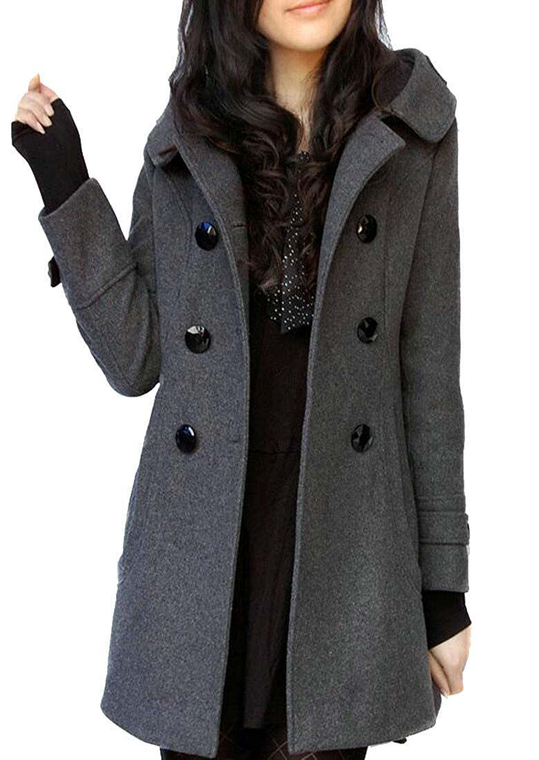 Wofupowga Women's Slim Fit Double Breasted Wool-Blend Hooded Trench Coat Pea Coat