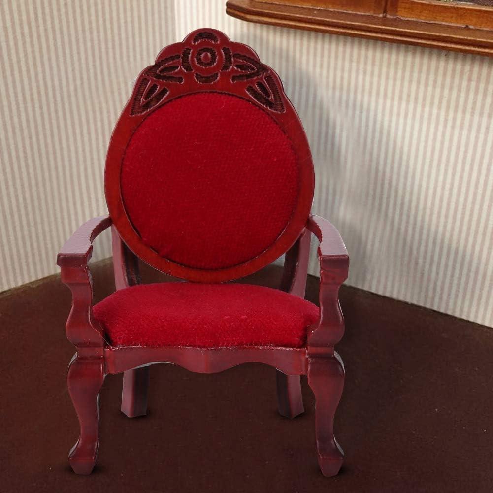1:12 Maison De Poup/ée Miniature Simulation Vintage en Bois Sculpt/é /À Manger Chaise Meubles Ornement D/écor Jouets pour Enfants Dollhouse Vintage Chaise Sculpt/ée