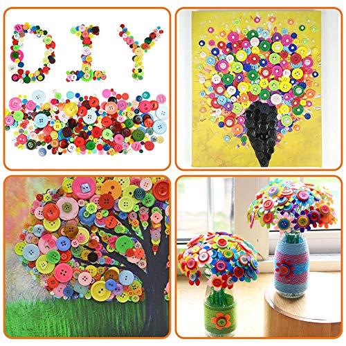 VGOODALL 1000pcs Colourful Buttons, Plastic Craft Buttons Round Button for Kids Handmade Decorative Sewing DIY Painting