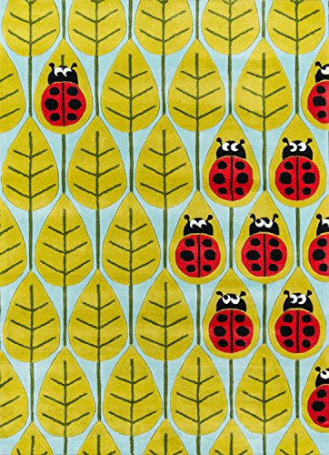 (Momeni Rugs LMOJULMJ13LBR5070 Lil' Mo Whimsy Collection, Kids Themed Hand Carved & Tufted Area Rug, 5' x 7', Lady Bug Red)