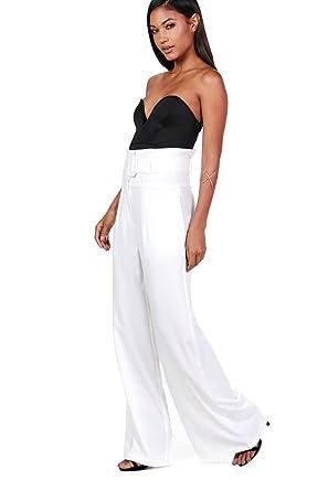 b7d4476583f77 Ivoire Femmes Luisana Pantalon Large Ajusté À Ceinture Et Taille Haute - 10