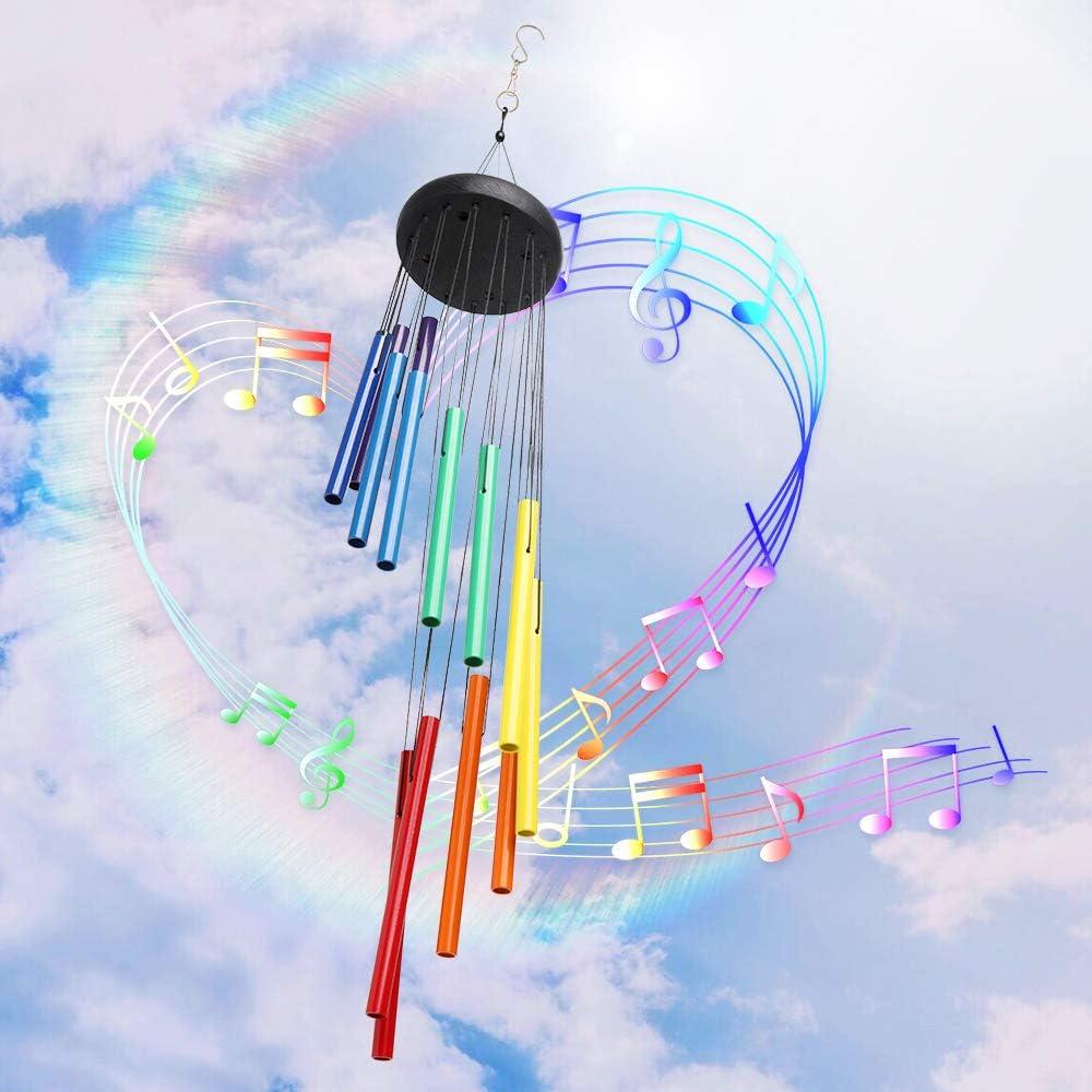 SIX FOXES 鮮やかなレインボー風鈴 アウトドア 素晴らしいグレースチャイム 大きな風鈴 深い音 14個のカラフルなアルミ合金チューブ付き パティオ/ポーチ/庭/裏庭/お母さんへのギフトに