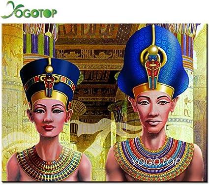 FHGFB 5D DIY Kit de Pintura de Diamantes Pareja egipcia Rhinestone Resina Mosaico Imagen hogar decoración de la Pared Regalo Redondo Diamante sin Marco -40x50cm