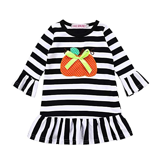 dca75e42054ba BELS Baby Girl Christmas Clothes Red Striped Long Sleeve Santa Ruffle Dress