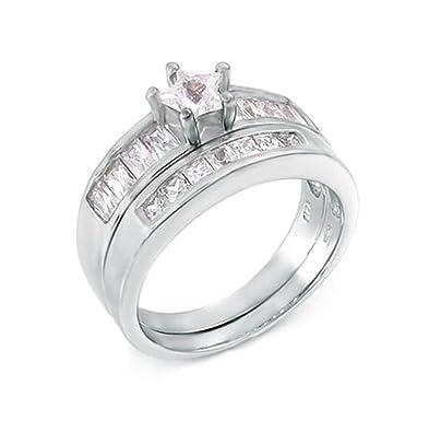 Amazon Com 5 Ct Star Cut Wedding Ring Designer 2 Piece Set 925