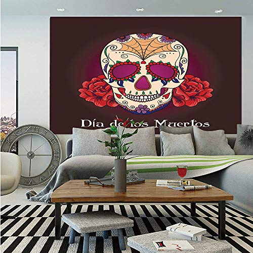 SoSung Day of The Dead Decor Huge Photo Wall Mural,Dia de Los Muertos Quote with Spanish Skull Dead Head Vivid Print,Self-Adhesive Large Wallpaper for Home Decor 108x152 inches,Plum Red Cream ()