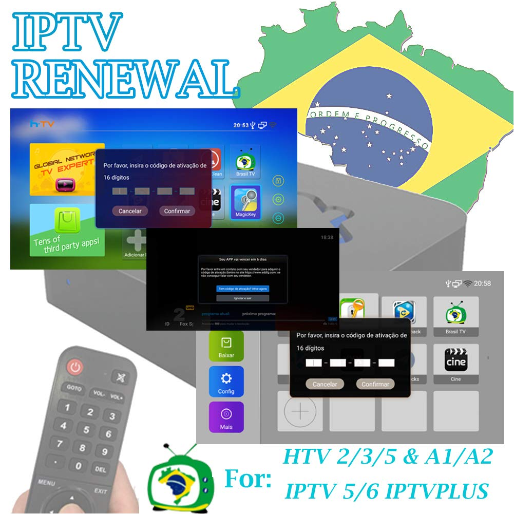 Brazil iptv renewal 16-Digit yearly RENEW CODE for HTV 2 3 5 / A2 / A1 / IPTV 5 6 / IPTV5+Plus Portuguese TV BOX Subscription Service Valid for 13 months