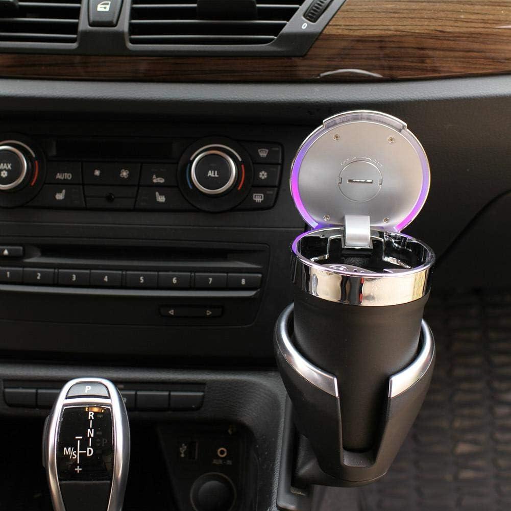 Generp Compact Stylish Smokeless Car Ashtray,Car And Home Dual Use LED Light Automobile Ashtray