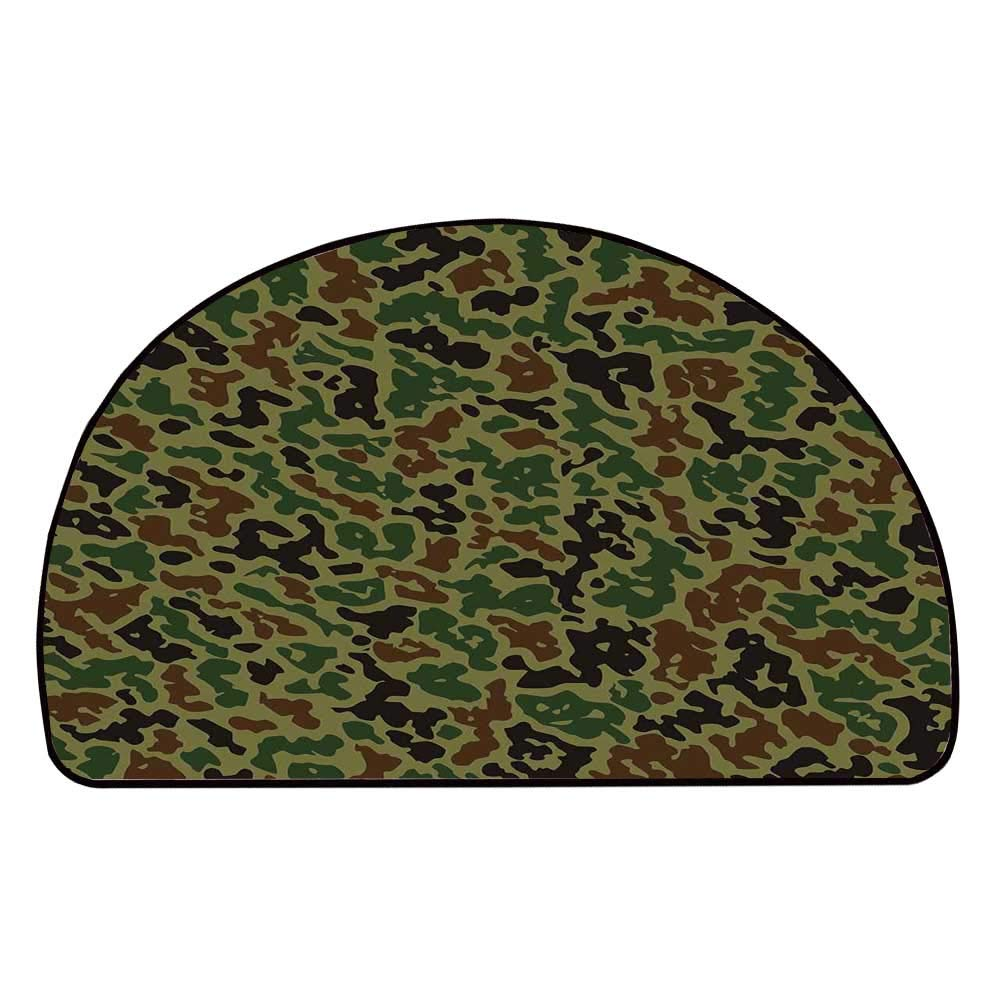 C COABALLA Camo Comfortable Semicircle Mat,Military Summer Camouflage Pattern Grungy Texture Hidden in Jungle Retro Style for Living Room,11.8'' H x 23.6'' L