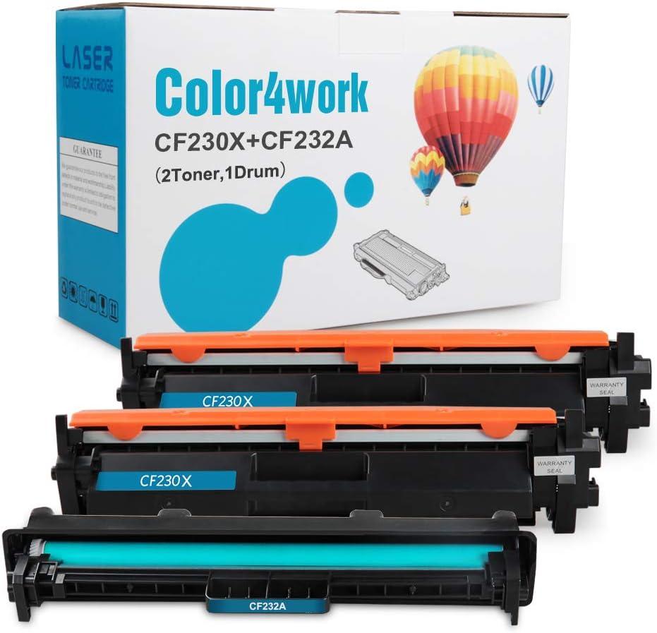 Color4work Compatible Toner and Drum Replacement for HP 32A CF232A Toner Drum 1-Pack and HP 30X CF230X Toner Cartridge 2-Pack for Laserjet Pro M203dw M203d M203dn M227fdw M227fdn Printer