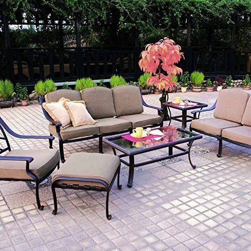 (Darlee Ten Star 6 Piece Cast Aluminum Patio Conversation Seating Set With Glass Top Tables)