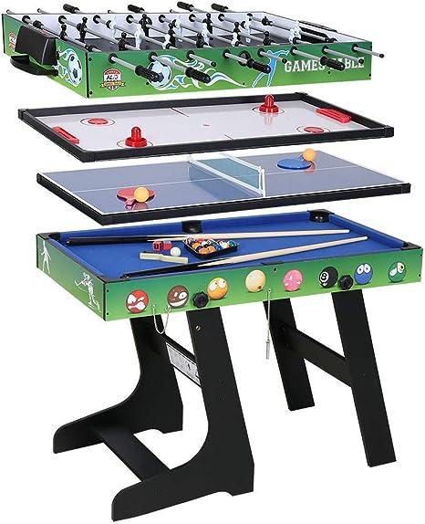 JCF Mesa Multijuegos Plegable 4 en 1 Mesa de Billar, Ping Pong, Hockey y Futbolín (109 x 60,5 x 82 cm) Buen Regalo para Fiestas Juegos Entre Familia Color Verde: Amazon.es: Deportes y aire libre