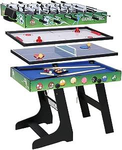 JCF Mesa Multijuegos Plegable 4 en 1 Mesa de Billar, Ping Pong ...