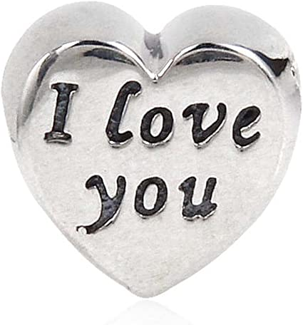 2 pcs laser cut acrylic Valentines Day Conversation Hearts Love You charms silver mirror DIY jewelry