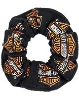 Harley-Davidson All Over Orange Bar & Shield Logo Hair Scrunchie Black HS40030