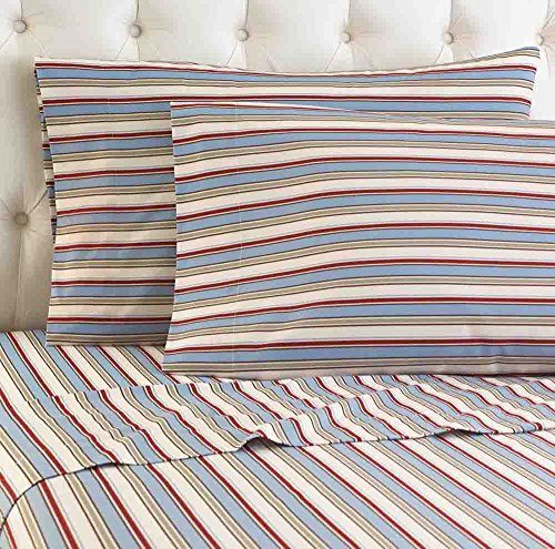 Shavel Micro Flannel Sheet Set, California King, Awning - Stripe Bedding Awning