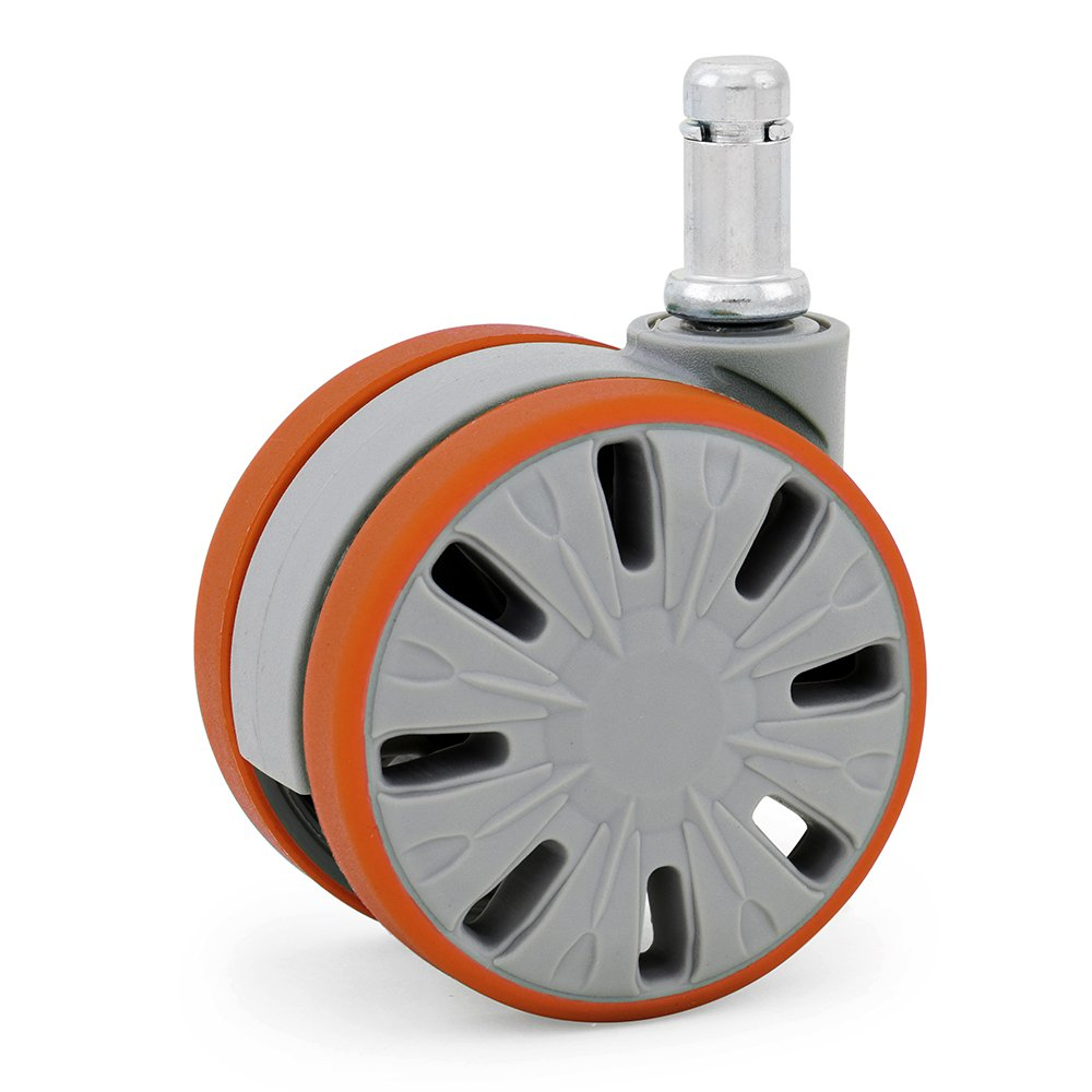 KATU F1GUOR65-23 Office Chair Caster Wheels Rubber PU Large 65mm (2 9/16) Ideal for Hardwood Floors and Carpets Smoothness and Quietness 5 Years Warranty - 5 Unit/Pack (Gray & Orange) - Best Quality Guarantee!