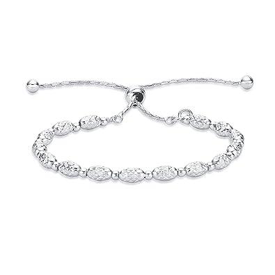 Diamond Treats Womens Silver Bracelet 925 Sterling Silver