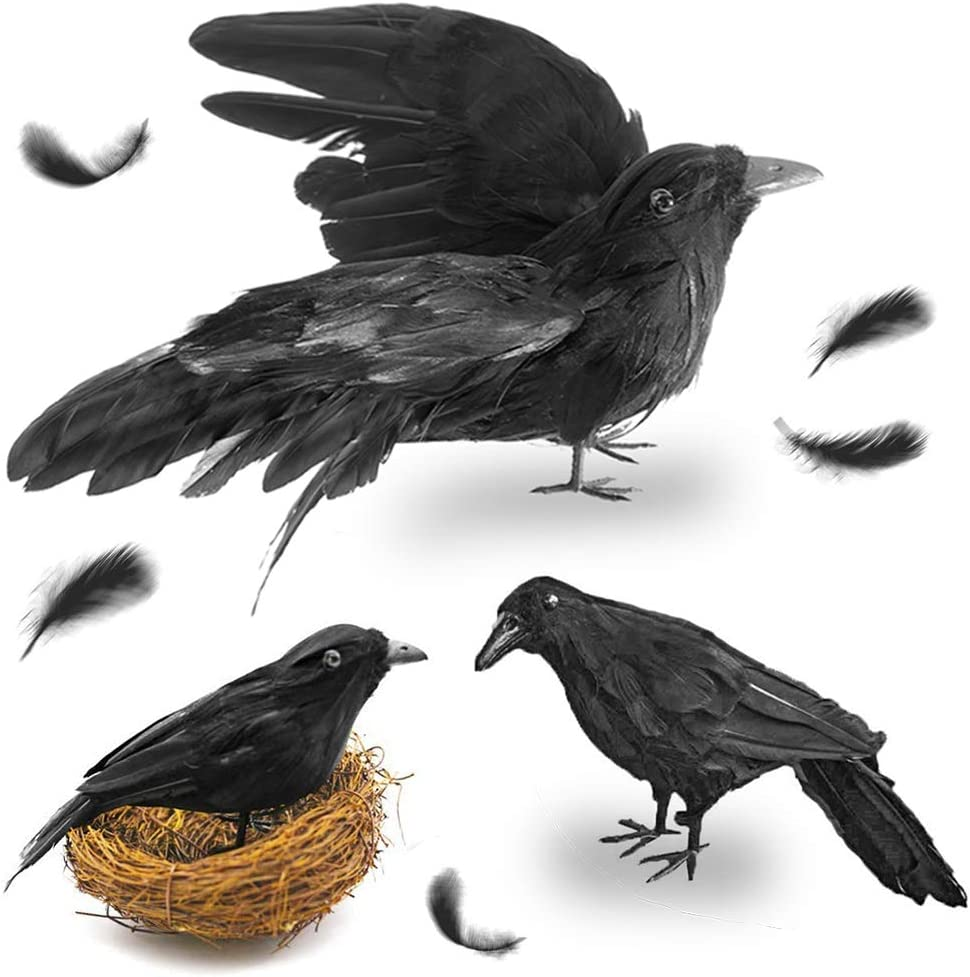 FUTUREPLUSX Black Crows Halloween, 3PCS Fake Crow with Bird's Nest Handmade Artificial Crow Crow Decoys Fake Raven Feathered Realistic Crows