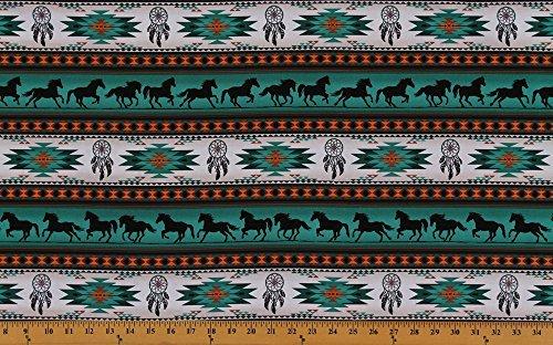 Cotton Southwestern Native American Aztec Tucson 201 Turquoise Horses Dream Catchers Cotton Fabric Print by the Yard - Print Fabric Southwestern