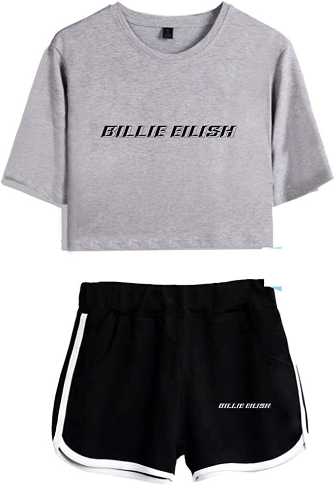 Vinhan Store Billie Eilish Crop Tops 2 Pieces Set Shorts Cotton White Black Summer Shirt Tshirt Women Girl Mujer Bag Guys Amazon Ca Clothing Accessories