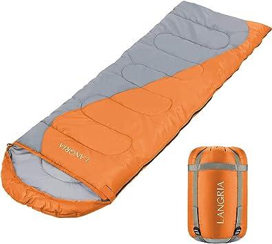 LANGRIA Saco de Dormir Ligero de 3 Estaciones con Saco de Compresión, Sacos de Dormir Compactos para Adultos, Interior/Exterior para el Camping, Festivales, Senderismo y Trekking (Tipo Rectangular - Naranja): Amazon.es: Deportes