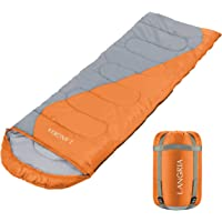 LANGRIA 3 Seasons Sleeping Bag with Compression Sack, Compact & Lightweight Sleeping Bags for Indoor/Outdoor Sleepover Camping Backpacking Hiking Festival
