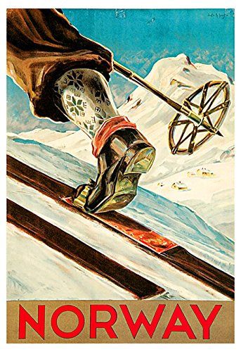 (Norway Poster, Norwegian Travel Poster, Ski, Skiing, Norge)