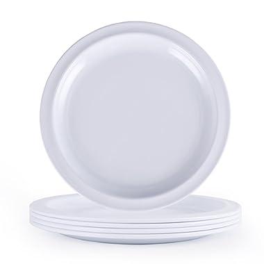 Melamine Dinner Plates Set -10Inch Everyday Use Dinner Dishes Set, White, Set of 4