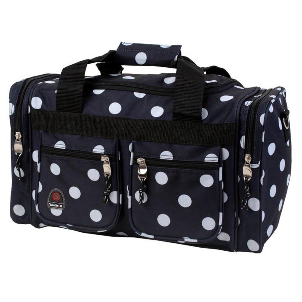 DH Girls Black White Polka Dot Theme School Gym Duffel Bag, Girl All Over Multi Polkadot Dots Themed Sleepover Travel Duffle