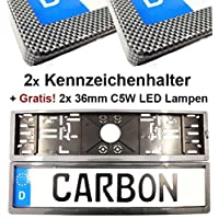 SET 2x Kennzeichenhalterungen in Carbon LOOK Kennzeichenhalter + 2x 36mm C5W LED Kennzeichenbeleuchtung SMD Lampen