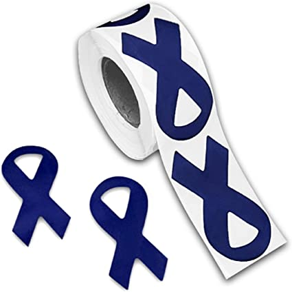 Amazon Com Fundraising For A Cause Dark Blue Ribbon Shaped Stickers Dark Blue Awareness Stickers For Colon Cancer Child Abuse Rectal Cancer Huntington S Disease Awareness 1 Roll 250 Stickers