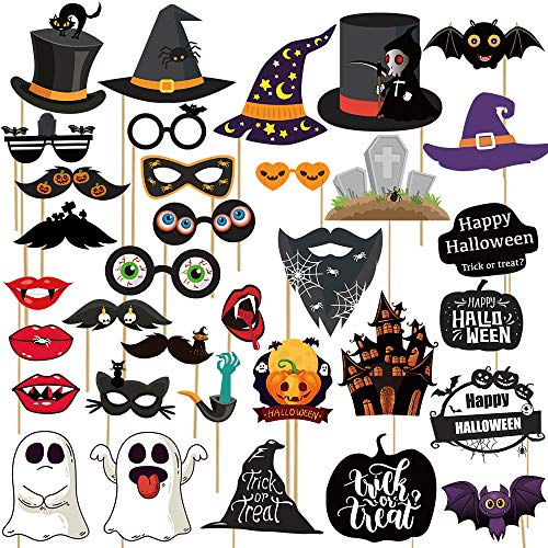 Props For Halloween Party (Haojiake Halloween Photo Booth Props 35 Pcs for Halloween Decor,Halloween Party Trick or Treat)