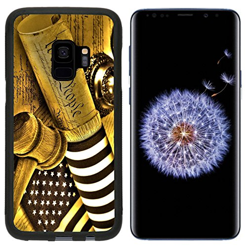 Luxlady Premium Samsung Galaxy S9 Aluminum Backplate Bumper Snap Case IMAGE ID: 35423443 United States Constitution gavel scales of justice and flag HDR image