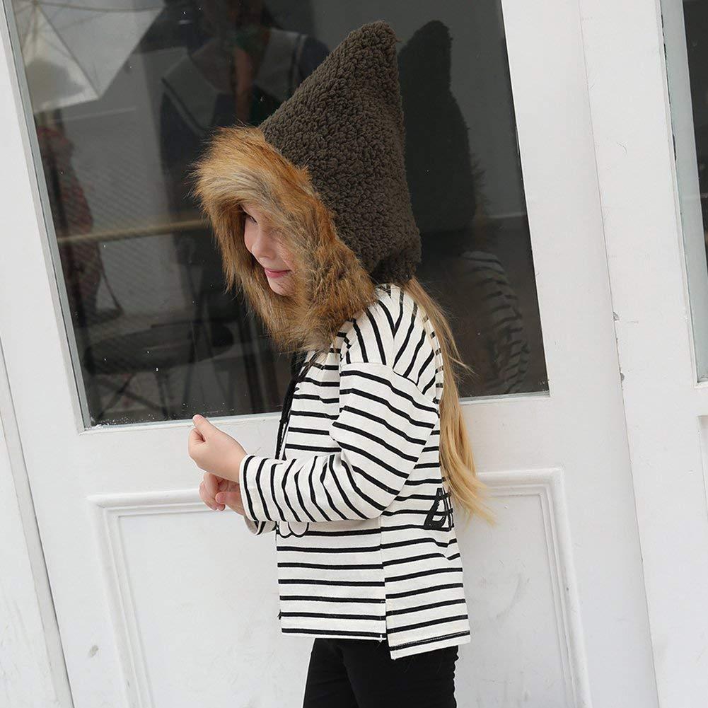 wintefei Fashion Winter Baby Kid Girls Artificial Fur Cute Thicken Sharp Witch Hat Beanie