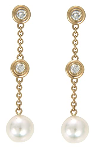 14k Yellow Gold 7-7.5mm Cultured Pearl and Diamond Dangle Earrings