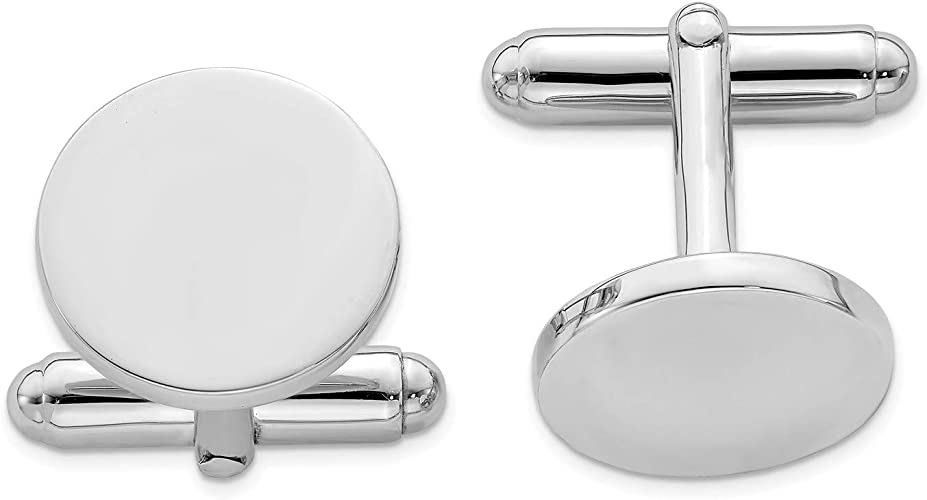 Sterling Silver Rhodium-plated Round Cuff Links