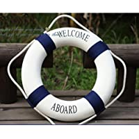 XXWG Decorative Welcome Aboard Nautical Lifebuoy Ring Wall Hanging Home Decoration