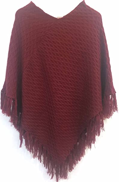 a3a06998d Woolly Womens Poncho V Neck - Stylish Knitted Poncho for Winter - Maroon