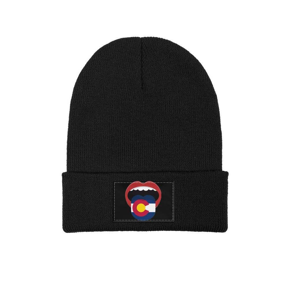 FYFYOK Men Slouchy Beanie Hat Toboggan Hats Colorado Abstract Mouth Woolen Cap