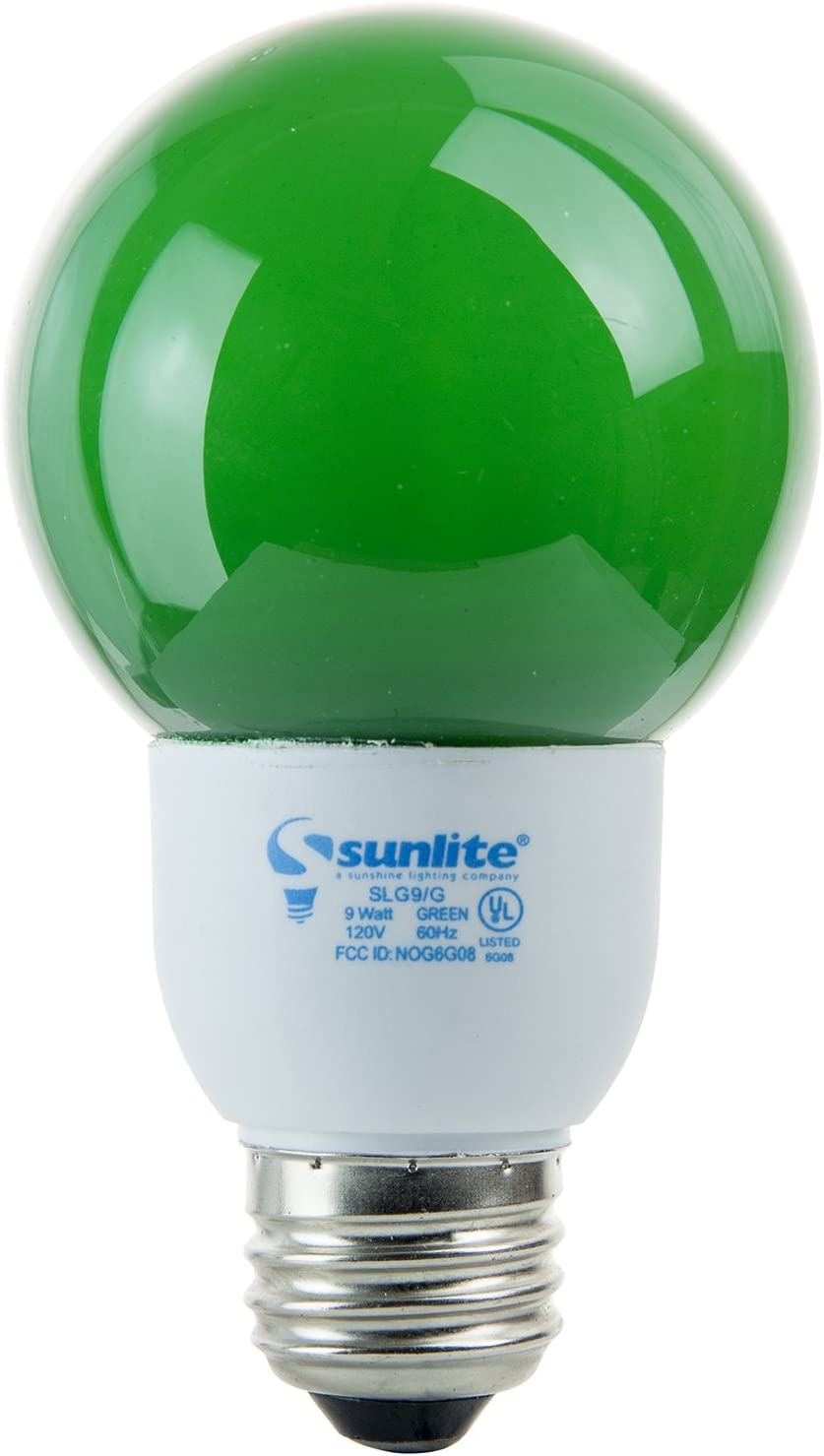 SUNLITE Compact Fluorescent 9W Colored Green Globes Bulb