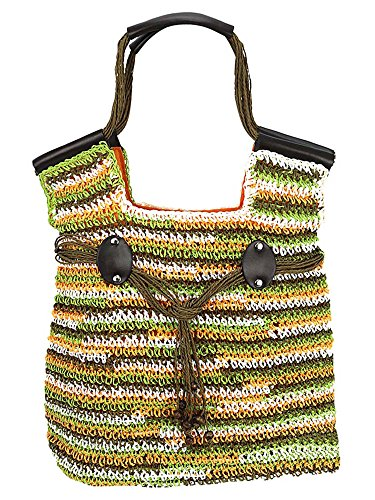 Lightweight Woven Tote (Orange & Green Woven Crochet Toyo Lightweight Beach Bag Tote)